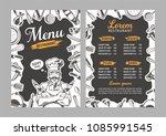 menu with kitchen utensils in... | Shutterstock .eps vector #1085991545