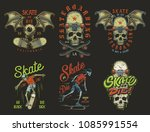set of skateboarding emblems in ...