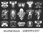 set of skateboarding emblems in ... | Shutterstock .eps vector #1085991557