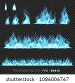 collection of realistic fire... | Shutterstock .eps vector #1086006767