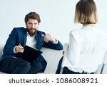interview  man  woman  hiring  ... | Shutterstock . vector #1086008921
