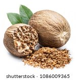 dried seeds of fragrant nutmeg... | Shutterstock . vector #1086009365