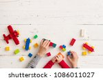 top view on woman's and child's ... | Shutterstock . vector #1086011027