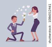 gentleman with flowers. young... | Shutterstock .eps vector #1086012461