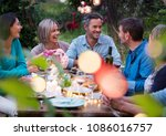 beautiful summer evening in the ... | Shutterstock . vector #1086016757