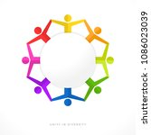 unity in diversity with blank...   Shutterstock .eps vector #1086023039