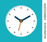 clock icon in flat style  round ... | Shutterstock .eps vector #1086023204