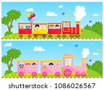 Kids Train Vector Cartoon Toy...