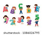 kids alphabet vector children... | Shutterstock .eps vector #1086026795