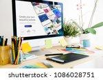 graphic design studio website... | Shutterstock . vector #1086028751