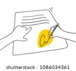 signing document man signing... | Shutterstock .eps vector #1086034361