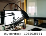 podcast studio  microphone and... | Shutterstock . vector #1086035981