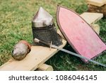 close up on medieval soldier's... | Shutterstock . vector #1086046145