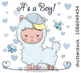 baby shower greeting card with... | Shutterstock .eps vector #1086049454