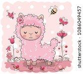 cute cartoon lama with flowers... | Shutterstock .eps vector #1086049457