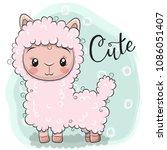 cute cartoon pink lama on a... | Shutterstock .eps vector #1086051407