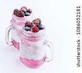 ice cream with berries and chia | Shutterstock . vector #1086052181