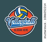 volley ball logo with text... | Shutterstock .eps vector #1086052214
