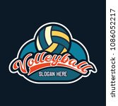 volley ball logo with text... | Shutterstock .eps vector #1086052217