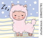 Stock vector cute cartoon pink sleeping alpaca on striped background 1086052781