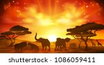 Stock vector an african safari animal savannah silhouette sunset background landscape scene 1086059411