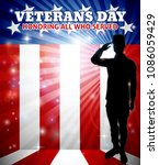 american saluting soldier with... | Shutterstock .eps vector #1086059429