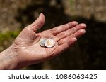 Small photo of Euro on hand. Two euro coins on the hand of an Aten woman. Old age poverty in Germany. Background, poverty