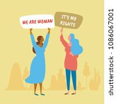 politics women protest action.... | Shutterstock .eps vector #1086067001