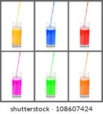 collage with juice pouring into ... | Shutterstock . vector #108607424