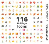 holiday flat icon raster... | Shutterstock . vector #1086077681