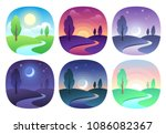 modern beautiful landscape with ... | Shutterstock .eps vector #1086082367