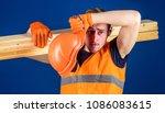 tired labourer concept.... | Shutterstock . vector #1086083615