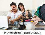 happy man and woman preparing... | Shutterstock . vector #1086093014