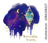 ramadan kareem greeting card... | Shutterstock . vector #1086108227