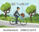 bike to work day. business man... | Shutterstock .eps vector #1086111674
