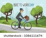 bike to work day. business man... | Shutterstock .eps vector #1086111674