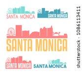 santa monica california flat...   Shutterstock .eps vector #1086113411