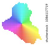 rainbow iraq map. vector dotted ... | Shutterstock .eps vector #1086117719
