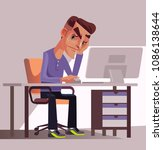 unhappy sad tired man office... | Shutterstock .eps vector #1086138644