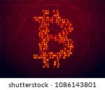 bitcoin sign of binary code... | Shutterstock .eps vector #1086143801