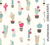 seamless pattern with cacti in... | Shutterstock .eps vector #1086145091