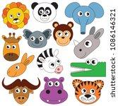 wild animals faces elements set ... | Shutterstock .eps vector #1086146321