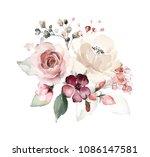 watercolor flowers. floral... | Shutterstock . vector #1086147581