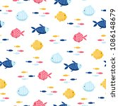 fish cartoon seamless pattern | Shutterstock .eps vector #1086148679