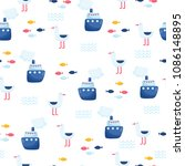 nautical seamless vector pattern | Shutterstock .eps vector #1086148895