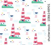 nautical seamless vector pattern | Shutterstock .eps vector #1086148901