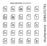 file types  bold line icons.... | Shutterstock .eps vector #1086151781