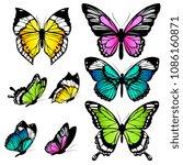 beautiful color butterflies set ... | Shutterstock .eps vector #1086160871