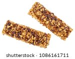 Stock photo two granola bars with cereals and chocolate isolated on white background 1086161711