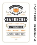 barbecue party vector flyer or... | Shutterstock .eps vector #1086161927